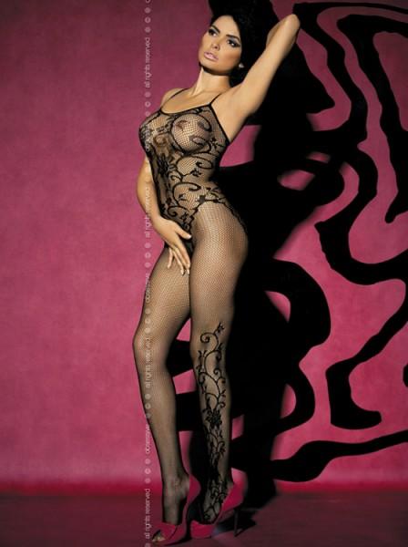 Catsuit F205 aus Netzmaterial in schwarz von Obsessive
