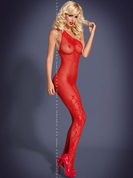 Catsuit F203 in rot aus Netzmaterial von Obsessive | D-4014