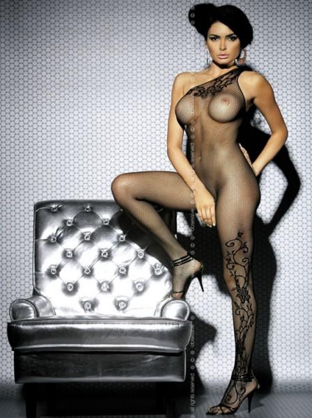 Catsuit F203 mit floralem Muster in schwarz von Obsessive