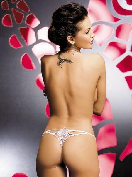 Verführerischer String aus transparenter Spitze, Luiza Thong in weiss von Obsessive