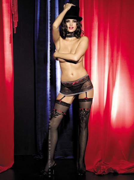 Strapsgürtel / Strumpfbandgürtel Showgirl garter belt mit Spitze und Stickerei von Obsessive