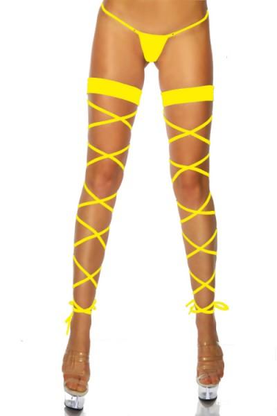 Schnür-Leggins in gelb