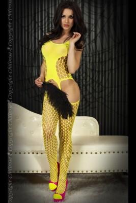 Catsuit CR 3282 aus Netzmaterial mit grossen Maschen in gelb von Chilirose