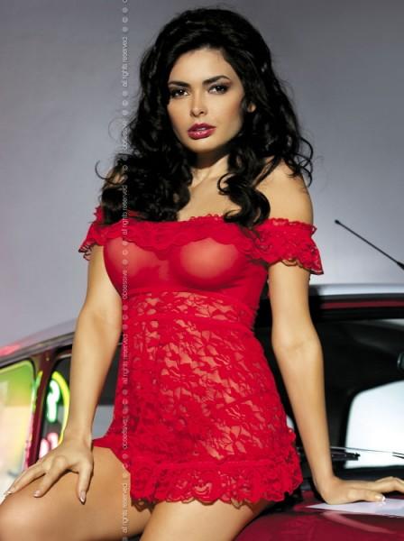 Neglige Flores mit Spitze in rot von Obsessive
