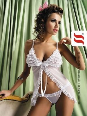 Transparentes Babydoll Madame White in weiss von Obsessive